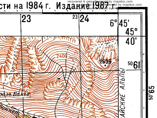 Reduced fragment of topographic map ru--gs--050k--l32-086-1--N045-40_E006-30--N045-30_E006-45