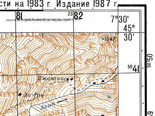 Reduced fragment of topographic map ru--gs--050k--l32-087-4--N045-30_E007-15--N045-20_E007-30