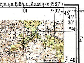 Reduced fragment of topographic map ru--gs--050k--l32-088-3--N045-30_E007-30--N045-20_E007-45; towns and cities Cuorgne