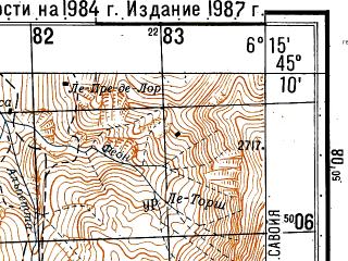 Reduced fragment of topographic map ru--gs--050k--l32-097-3--N045-10_E006-00--N045-00_E006-15; towns and cities Le Bourg-d'oisans