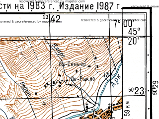 Reduced fragment of topographic map ru--gs--050k--l32-098-2--N045-20_E006-45--N045-10_E007-00