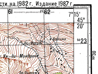 Reduced fragment of topographic map ru--gs--050k--l32-099-1--N045-20_E007-00--N045-10_E007-15; towns and cities Balme