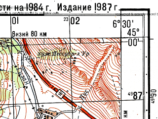 Reduced fragment of topographic map ru--gs--050k--l32-109-2--N045-00_E006-15--N044-50_E006-30