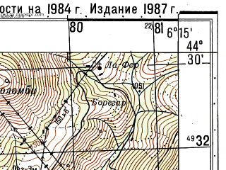 Reduced fragment of topographic map ru--gs--050k--l32-121-3--N044-30_E006-00--N044-20_E006-15