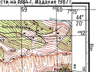 Reduced fragment of topographic map ru--gs--050k--l32-135-1--N044-20_E007-00--N044-10_E007-15; towns and cities Vinadio