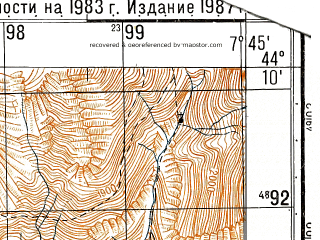 Reduced fragment of topographic map ru--gs--050k--l32-136-3--N044-10_E007-30--N044-00_E007-45; towns and cities Tende