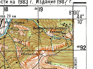 Reduced fragment of topographic map ru--gs--050k--l32-136-4--N044-10_E007-45--N044-00_E008-00; towns and cities Ormea
