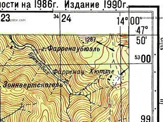 Reduced fragment of topographic map ru--gs--050k--l33-004-4--N047-50_E013-45--N047-40_E014-00; towns and cities Ebensee