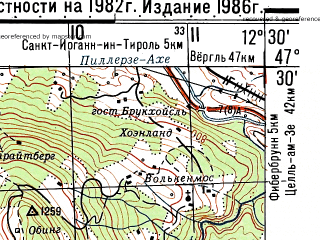 Reduced fragment of topographic map ru--gs--050k--l33-013-4--N047-30_E012-15--N047-20_E012-30; towns and cities Kitzbuhel