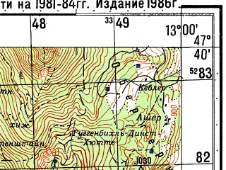 Reduced fragment of topographic map ru--gs--050k--l33-014-2--N047-40_E012-45--N047-30_E013-00 in area of Konigssee; towns and cities Berchtesgaden