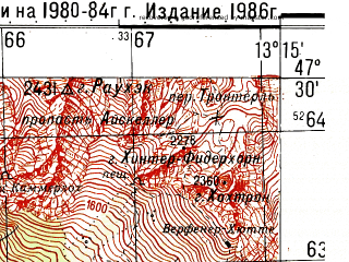 Reduced fragment of topographic map ru--gs--050k--l33-015-3--N047-30_E013-00--N047-20_E013-15; towns and cities Sankt Johann