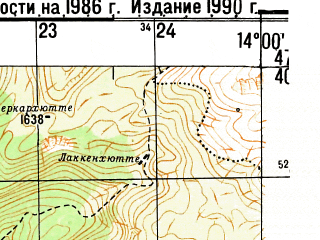 Reduced fragment of topographic map ru--gs--050k--l33-016-2--N047-40_E013-45--N047-30_E014-00 in area of Grundlsee; towns and cities Bad Aussee