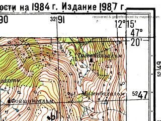 Reduced fragment of topographic map ru--gs--050k--l33-025-1--N047-20_E012-00--N047-10_E012-15