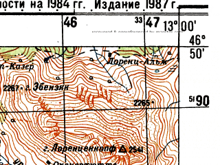 Reduced fragment of topographic map ru--gs--050k--l33-038-4--N046-50_E012-45--N046-40_E013-00; towns and cities Lienz