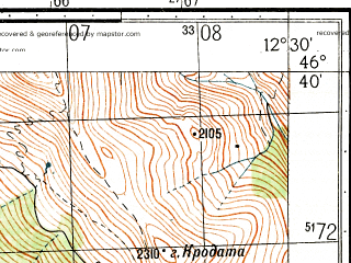 Reduced fragment of topographic map ru--gs--050k--l33-049-2--N046-40_E012-15--N046-30_E012-30