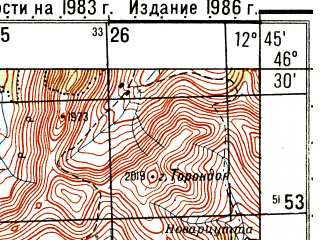 Reduced fragment of topographic map ru--gs--050k--l33-050-3--N046-30_E012-30--N046-20_E012-45