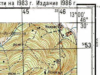 Reduced fragment of topographic map ru--gs--050k--l33-050-4--N046-30_E012-45--N046-20_E013-00