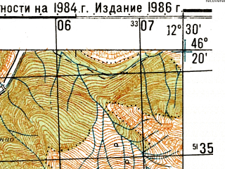 Reduced fragment of topographic map ru--gs--050k--l33-061-2--N046-20_E012-15--N046-10_E012-30