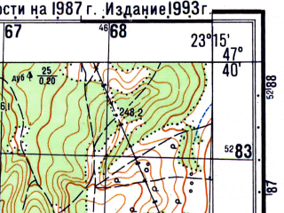 Reduced fragment of topographic map ru--gs--050k--l34-023-1--N047-40_E023-00--N047-30_E023-15