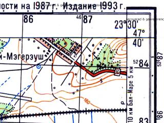 Reduced fragment of topographic map ru--gs--050k--l34-023-2--N047-40_E023-15--N047-30_E023-30; towns and cities Hideago
