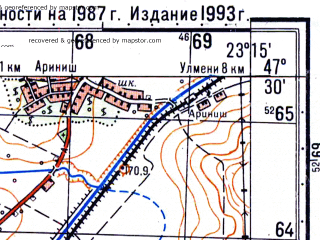 Reduced fragment of topographic map ru--gs--050k--l34-023-3--N047-30_E023-00--N047-20_E023-15; towns and cities Cehu-silvaniei