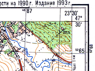 Reduced fragment of topographic map ru--gs--050k--l34-023-4--N047-30_E023-15--N047-20_E023-30; towns and cities Somcuta-mare