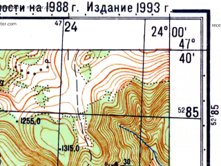 Reduced fragment of topographic map ru--gs--050k--l34-024-2--N047-40_E023-45--N047-30_E024-00
