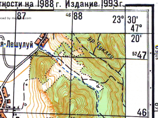 Reduced fragment of topographic map ru--gs--050k--l34-035-2--N047-20_E023-15--N047-10_E023-30; towns and cities Jibou, Sames-odorhei
