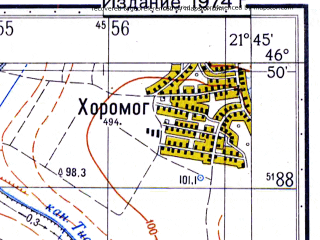 Reduced fragment of topographic map ru--gs--050k--l34-044-3--N046-50_E021-30--N046-40_E021-45; towns and cities Salonta