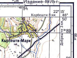 Reduced fragment of topographic map ru--gs--050k--l34-045-3--N046-50_E022-00--N046-40_E022-15; towns and cities Rogoz