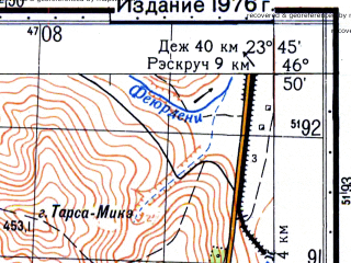 Reduced fragment of topographic map ru--gs--050k--l34-048-3--N046-50_E023-30--N046-40_E023-45; towns and cities Cluj-napoca