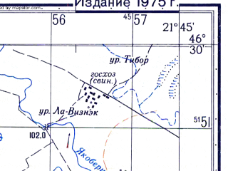 Reduced fragment of topographic map ru--gs--050k--l34-056-3--N046-30_E021-30--N046-20_E021-45; towns and cities Sintana