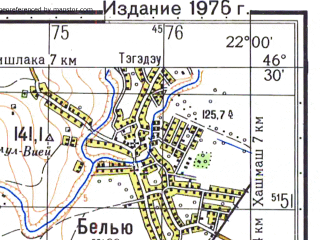 Reduced fragment of topographic map ru--gs--050k--l34-056-4--N046-30_E021-45--N046-20_E022-00; towns and cities Ineu
