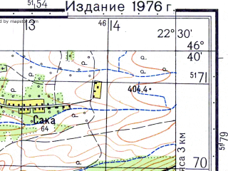 Reduced fragment of topographic map ru--gs--050k--l34-057-2--N046-40_E022-15--N046-30_E022-30; towns and cities Beius, Dr. Petru Groza