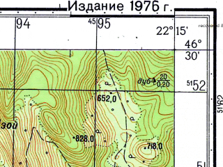 Reduced fragment of topographic map ru--gs--050k--l34-057-3--N046-30_E022-00--N046-20_E022-15