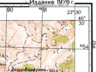 Reduced fragment of topographic map ru--gs--050k--l34-059-4--N046-30_E023-15--N046-20_E023-30