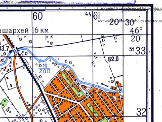 Reduced fragment of topographic map ru--gs--050k--l34-065-2--N046-20_E020-15--N046-10_E020-30; towns and cities Mako