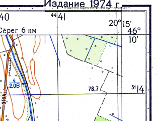 Reduced fragment of topographic map ru--gs--050k--l34-065-3--N046-10_E020-00--N046-00_E020-15; towns and cities Kanjiza