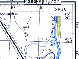 Reduced fragment of topographic map ru--gs--050k--l34-072-1--N046-20_E023-30--N046-10_E023-45; towns and cities Aiud