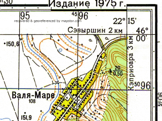 Reduced fragment of topographic map ru--gs--050k--l34-081-1--N046-00_E022-00--N045-50_E022-15; towns and cities Capilnas