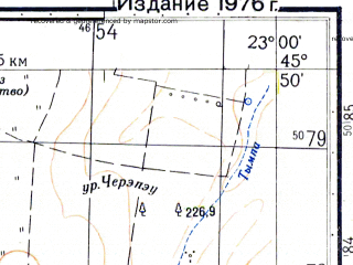 Reduced fragment of topographic map ru--gs--050k--l34-082-4--N045-50_E022-45--N045-40_E023-00; towns and cities Hunedoara