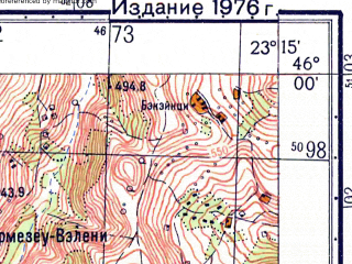 Reduced fragment of topographic map ru--gs--050k--l34-083-1--N046-00_E023-00--N045-50_E023-15; towns and cities Orastie