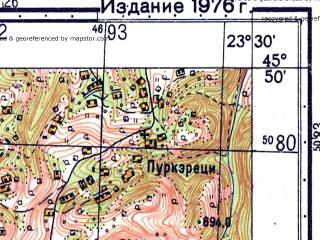 Reduced fragment of topographic map ru--gs--050k--l34-083-4--N045-50_E023-15--N045-40_E023-30