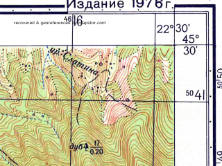 Reduced fragment of topographic map ru--gs--050k--l34-093-4--N045-30_E022-15--N045-20_E022-30