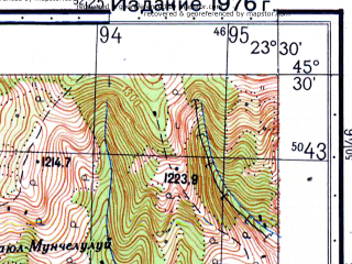 Reduced fragment of topographic map ru--gs--050k--l34-095-4--N045-30_E023-15--N045-20_E023-30; towns and cities Petroseni, Petrila, Vulcan