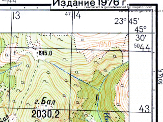 Reduced fragment of topographic map ru--gs--050k--l34-096-3--N045-30_E023-30--N045-20_E023-45