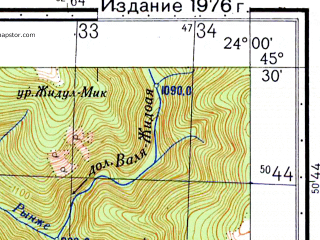 Reduced fragment of topographic map ru--gs--050k--l34-096-4--N045-30_E023-45--N045-20_E024-00