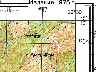 Reduced fragment of topographic map ru--gs--050k--l34-105-4--N045-10_E022-15--N045-00_E022-30; towns and cities Cornea