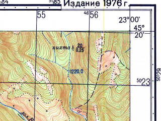 Reduced fragment of topographic map ru--gs--050k--l34-106-2--N045-20_E022-45--N045-10_E023-00