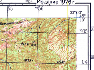 Reduced fragment of topographic map ru--gs--050k--l34-106-4--N045-10_E022-45--N045-00_E023-00
